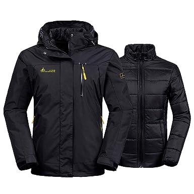 YXP Women s Double Layer Jacket Waterproof Puff Liner Winter Cotton Coat(Black  ... 55f813067
