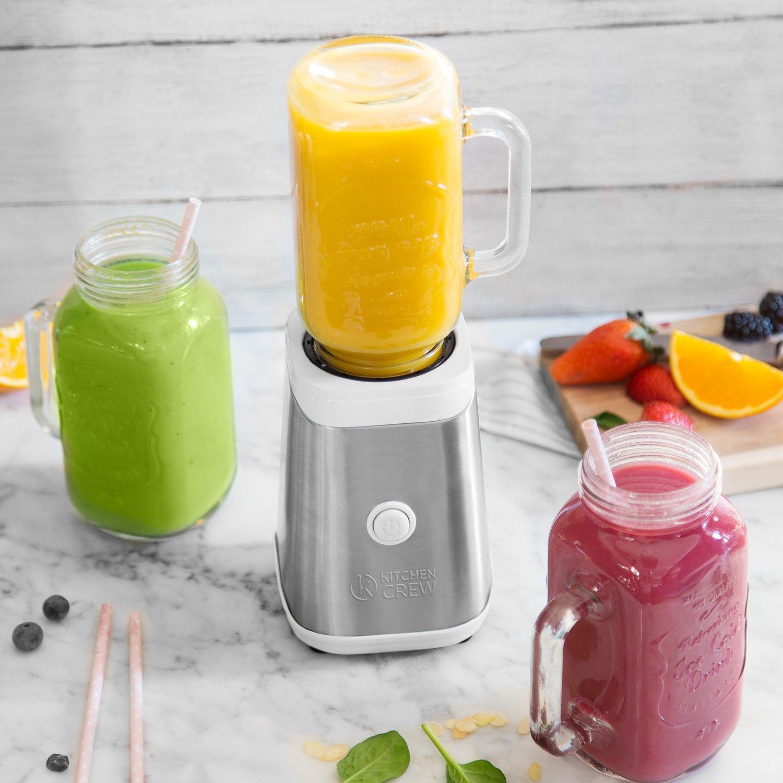Máquina para preparar smoothies 350W, Mason Jar, mini batidora de acero/Licuadora en blanco/verde/naranja de acero con botella de tritán (0,6 l) y 2 vasos ...