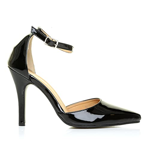 NEW YORK Black Patent Ankle Strap Pointed High Heel Court Shoesd Reliable