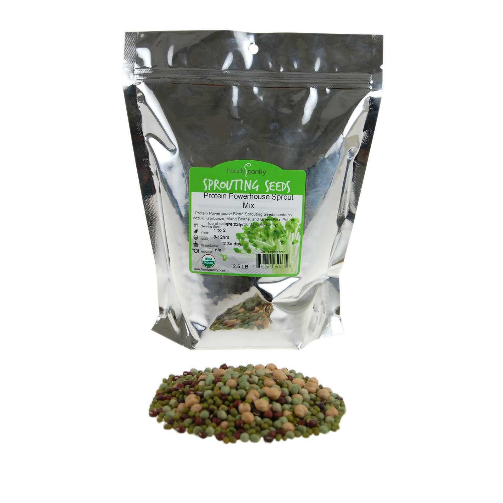 Protein Powerhouse Sprouting Seed Mix: 2.5 Lb - Organic, Non-GMO - Sprouting Sprouts, Food Storage. High Protien Sprouts - Pea, Mung, Green Pea, Adzuki