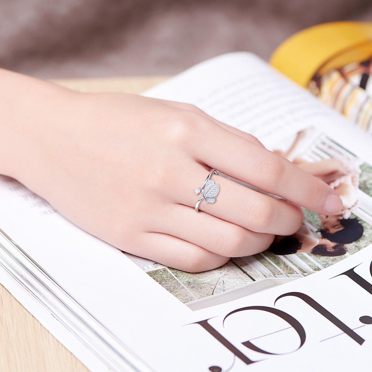 Amazon.com: SHEGRACE 925 Sterling Silver Flower Ring for Girls ...