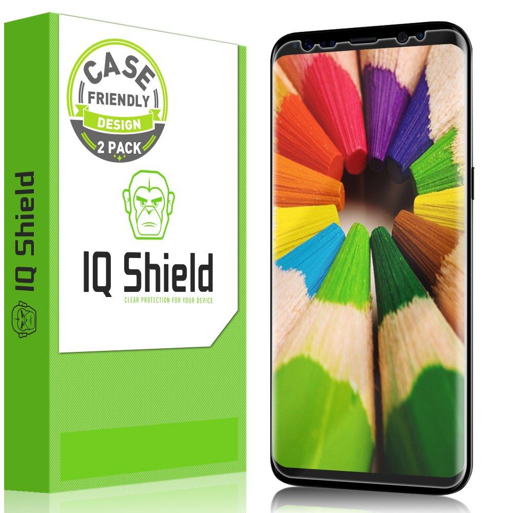 """Galaxy S8 Screen Protector, IQ Shield LiQuidSkin Full Coverage Screen Protector for Galaxy S8 5.8"""" Screen 2017(2-Pack, Case Friendly Updated Version) Anti- Scratch,HD Clear Anti-Bubble Film"""