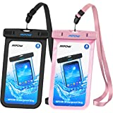 Mpow Universal Waterproof Case, IPX8 Waterproof Phone Pouch Dry Bag Compatible for iPhone Xs Max/Xs/Xr/X/8/8plus/7/7plus/6s/6/6s Plus Galaxy s9/s8/s7 Google Pixel HTC12 (Black+Pink 2-Pack)
