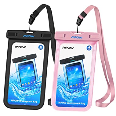 Mpow Universal Waterproof Case, IPX8 Waterproof Phone Pouch Dry Bag Compatible for iPhone 11/Xs Max/Xs/Xr/X/8/8plus/7/7plus/6/6s Plus Galaxy s10/s9/s8 Note 10/9 Google Pixel HTC12 (Black+Pink 2-Pack)