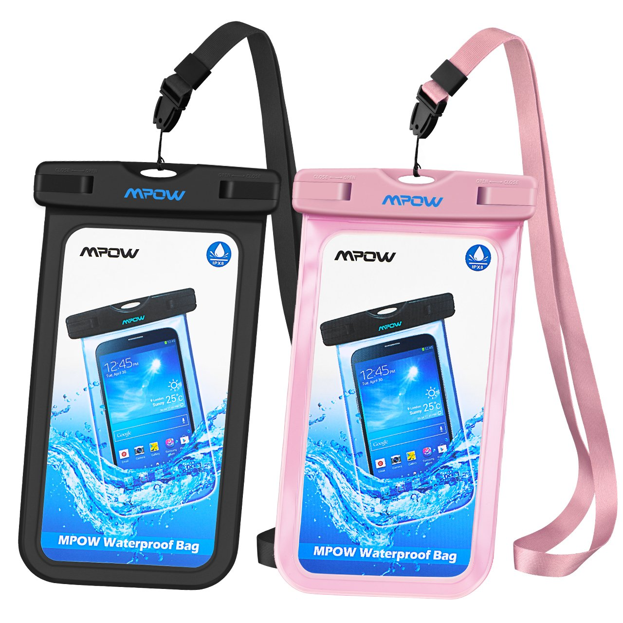 Mpow Universal Waterproof Case, IPX8 Waterproof Phone Pouch Dry Bag Compatible for iPhone Xs Max/Xs/Xr/X/8/8plus/7/7plus/6s/6/6s Plus Galaxy s9/s8/s7 Google Pixel HTC12 (Black+Pink 2-Pack) by Mpow (Image #1)
