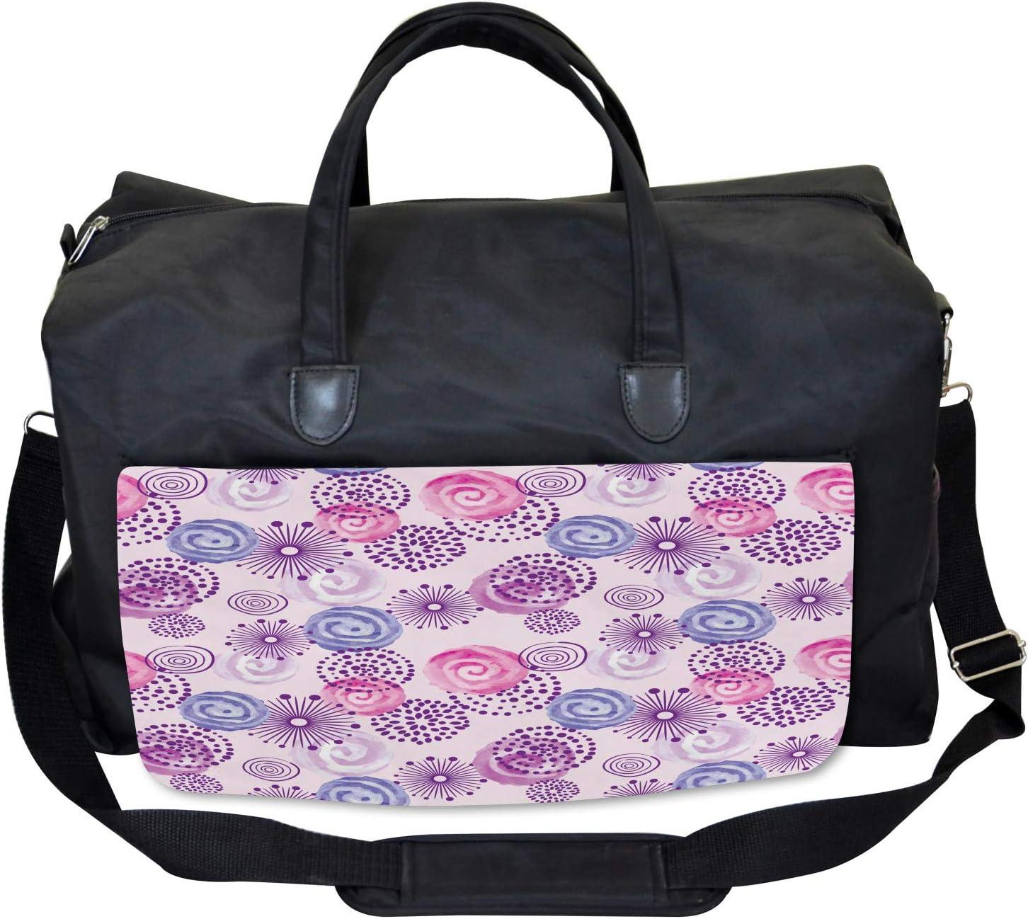 Ambesonne Purple Gym Bag Watercolor Flower Art Large Weekender Carry-on