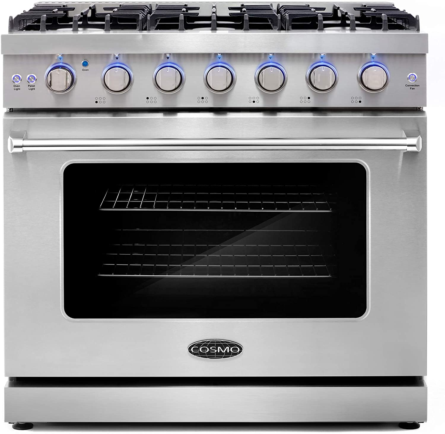 Cosmo COS-EPGR366 36 in. Slide-In Freestanding Gas Range with 6 Italian Burners, Cast Iron Grates and 6.0 cu. ft. Convection Oven in Stainless Steel