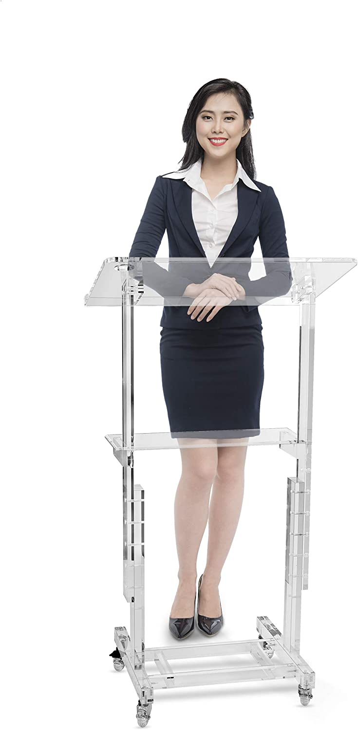AdirOffice Stand-Up Mobile Adjustable-Height Acrylic Podium Multifunctional – Easy Audience Coverage for Meetings Seminars