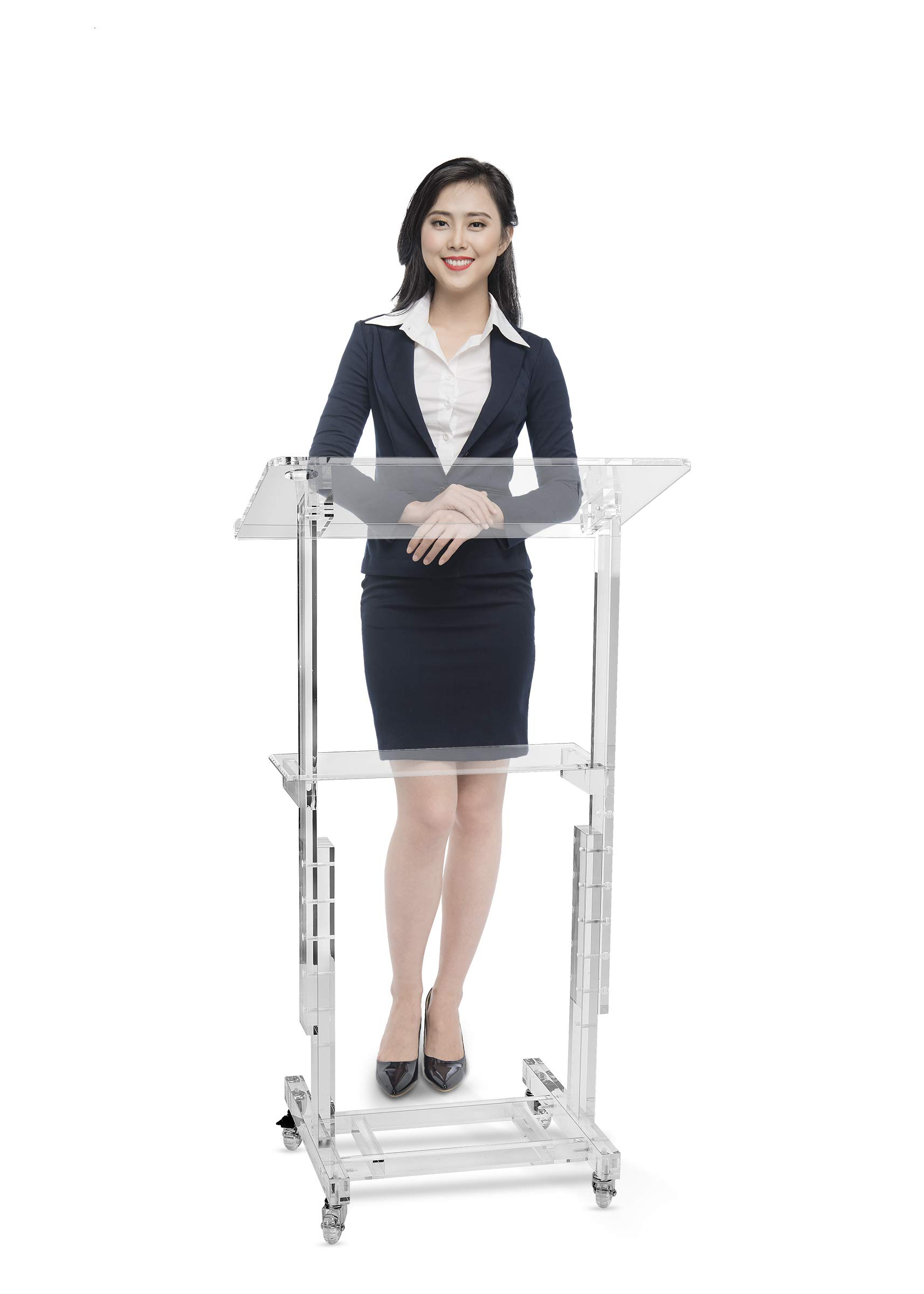 AdirOffice Stand-Up Mobile Adjustable-Height Acrylic Podium Multifunctional - Easy Audience Coverage for Meetings & Seminars