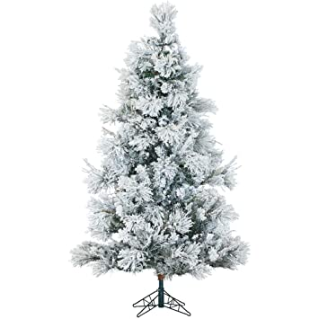 9 ft pre lit led flocked snowy pine artificial christmas tree with clear string