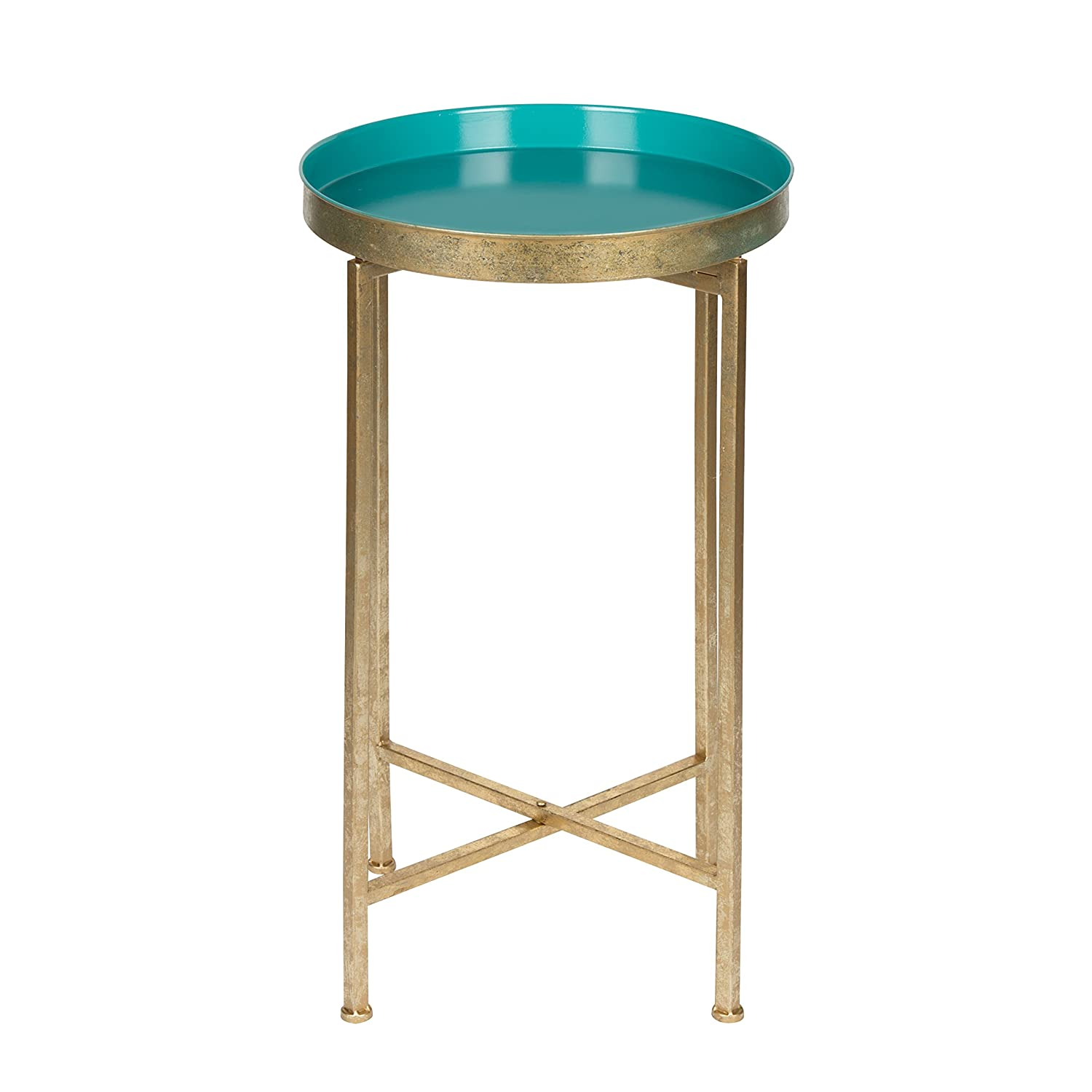 Kate and Laurel 211073 Celia Round Metal Foldable Tray Accent Table, 14x14x25.75, Gold/Teal