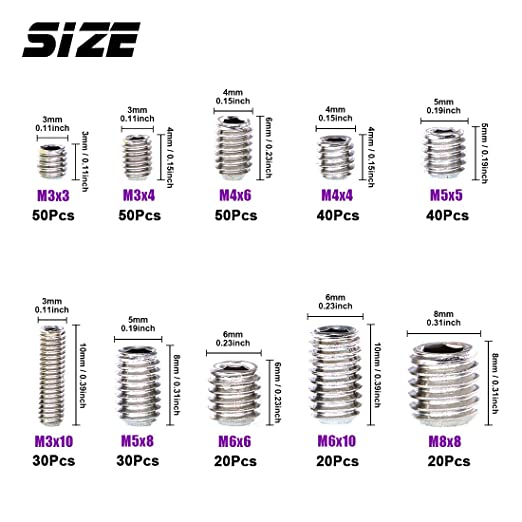 sourcingmap/® 3//16 Inch x 1//2 Inch 24 Thread Counts Cup Point Hex Socket Set Screw Grub Screws 50 Pcs