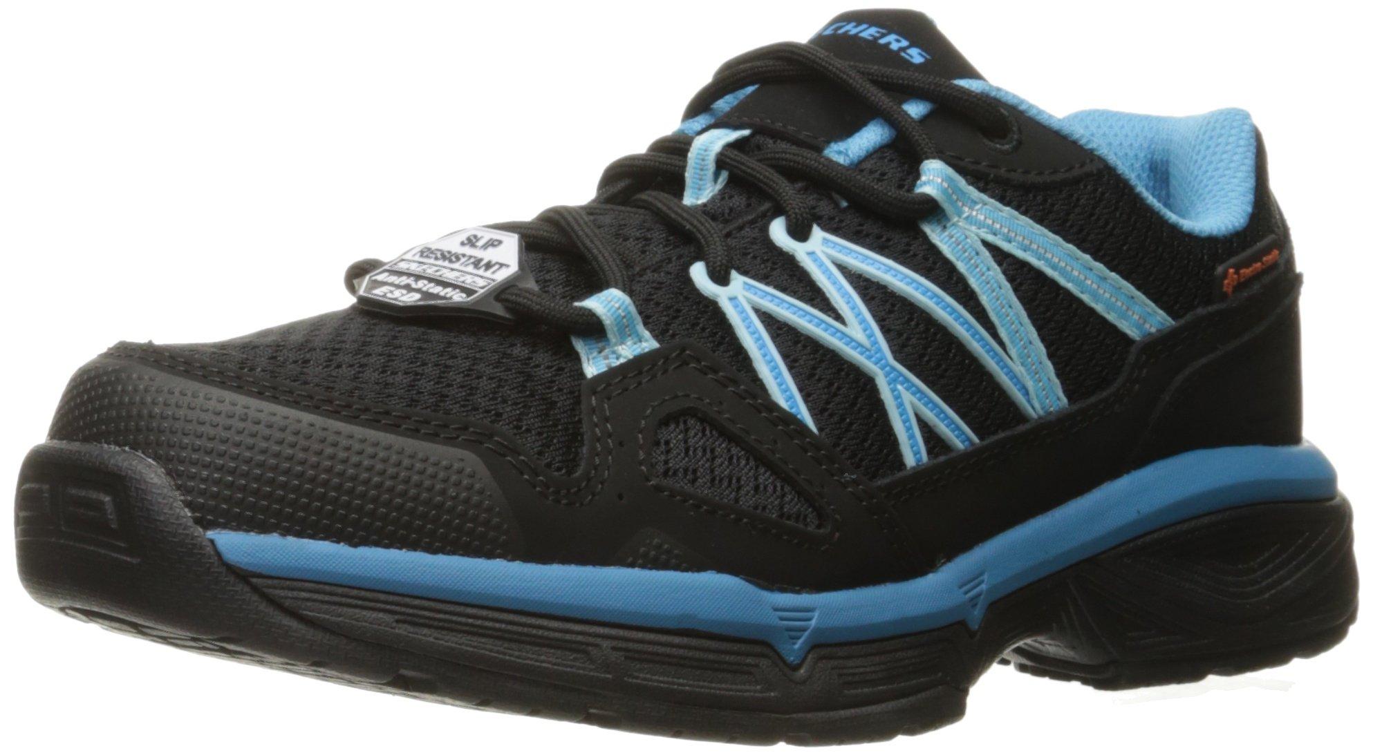 Skechers for Work Women's Conroe Abbenes Work Shoe,Black/Light Blue,6 M US