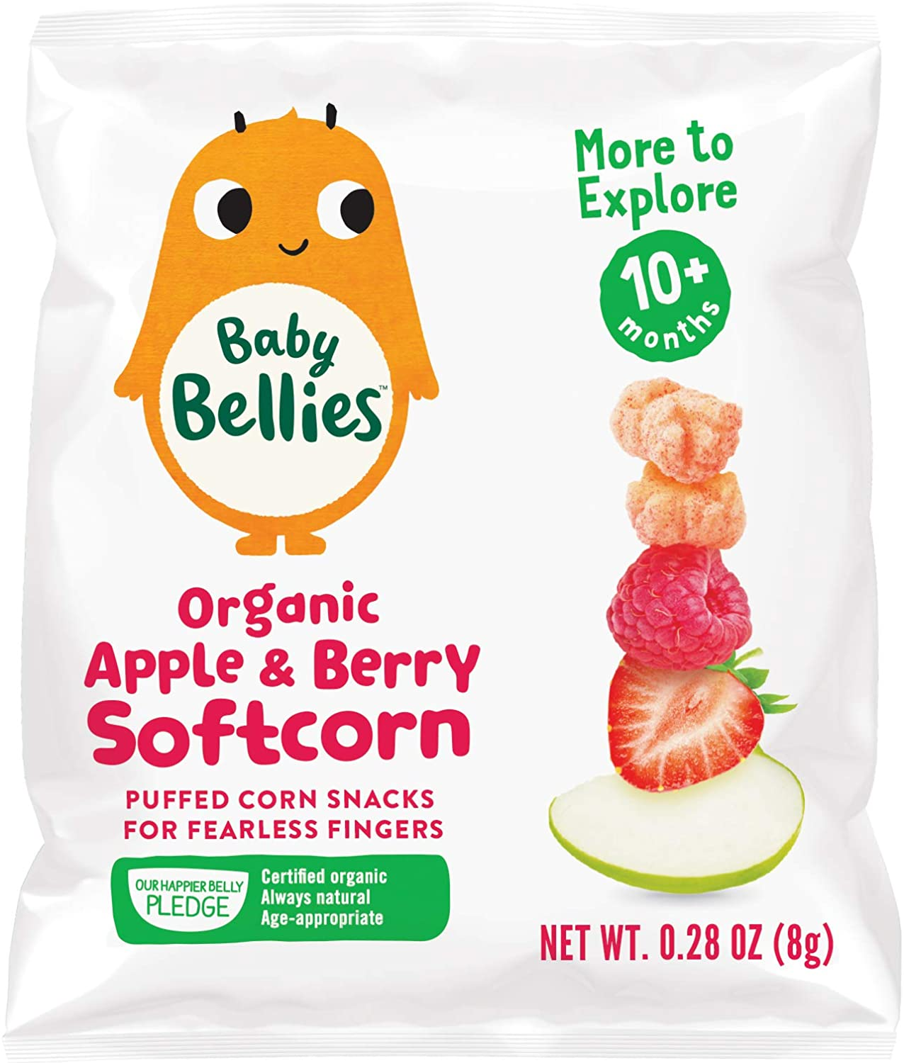 Baby Bellies Organic Softcorn Baby Snack, Apple & Berry, Pack of 7 Individual Snack Packs