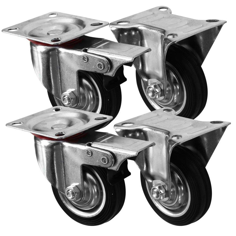 Gamme Coldene Heavy Duty 4-Pack en caoutchouc Noir pivotante /à frein//fixe Roulettes Roues chariot meubles Caster Noir 75/mm//7,6/cm