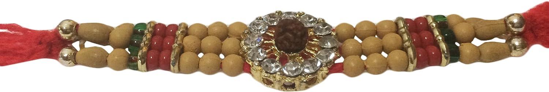 IndiaBigShop Rakhi for Brothers Stone with Rudraksha Design Rakhi Thread Raksha Bandhan Gift for Your Brother Vary Color and Multi Design Set of 2
