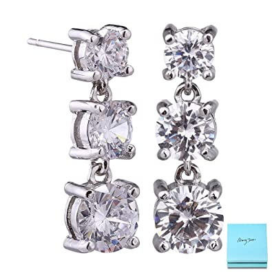 c0589c56a9a6 Crystal Dangle Earrings for Women - Sterling Silver Rhodium Plated Round  Clear CZ Rhinestone Cubic Zirconia
