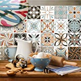 "(Pack of 20 Pieces) (6""x6"" 15x15 cm size ) - PUV0016 Ceramic effect sticker for bathroom and kitchen Stickers design - Decori vintage"