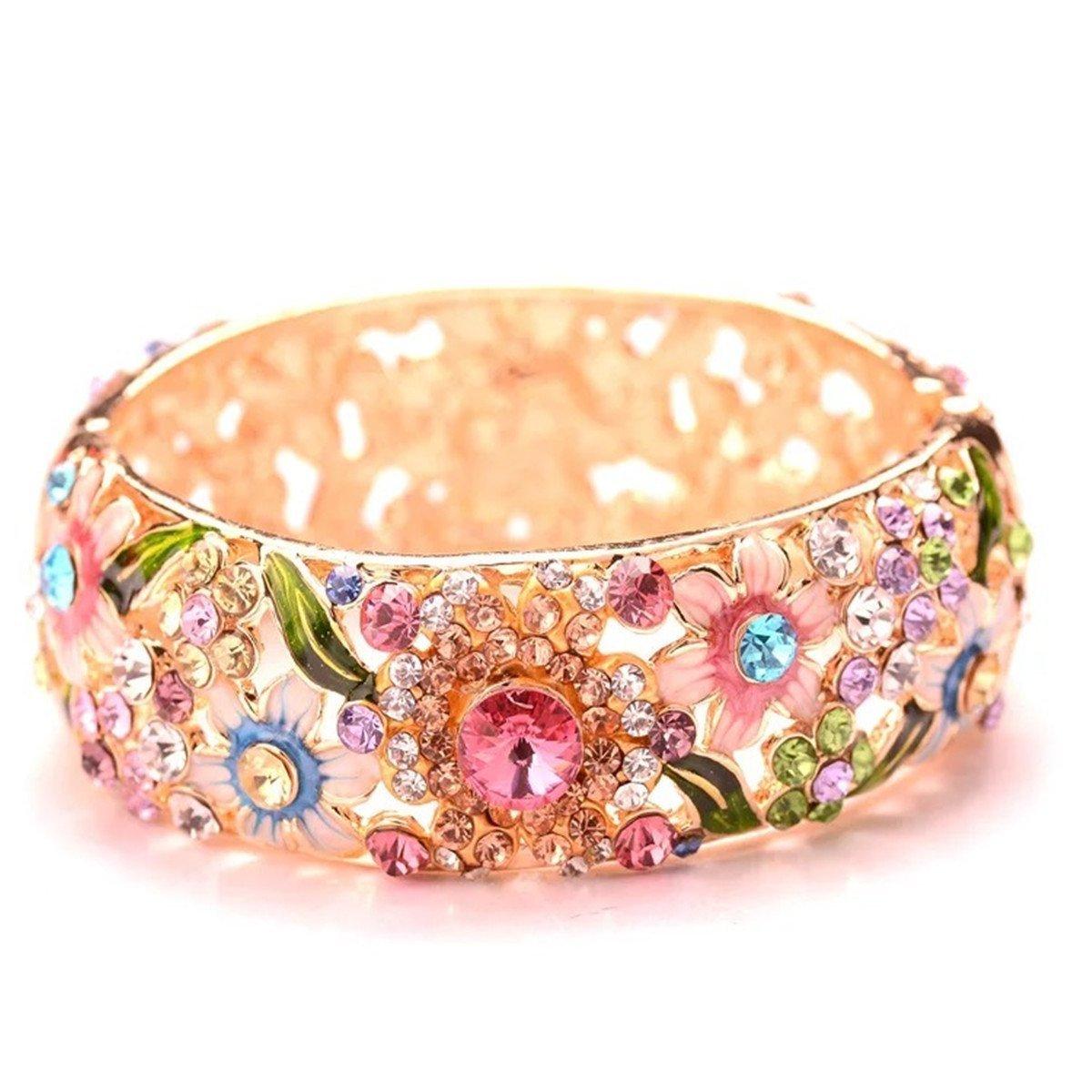 Mondora Prom Bracelet Cuff Wide Flower Enamel Women's Austrian Crystal Gold-Tone Multicolor