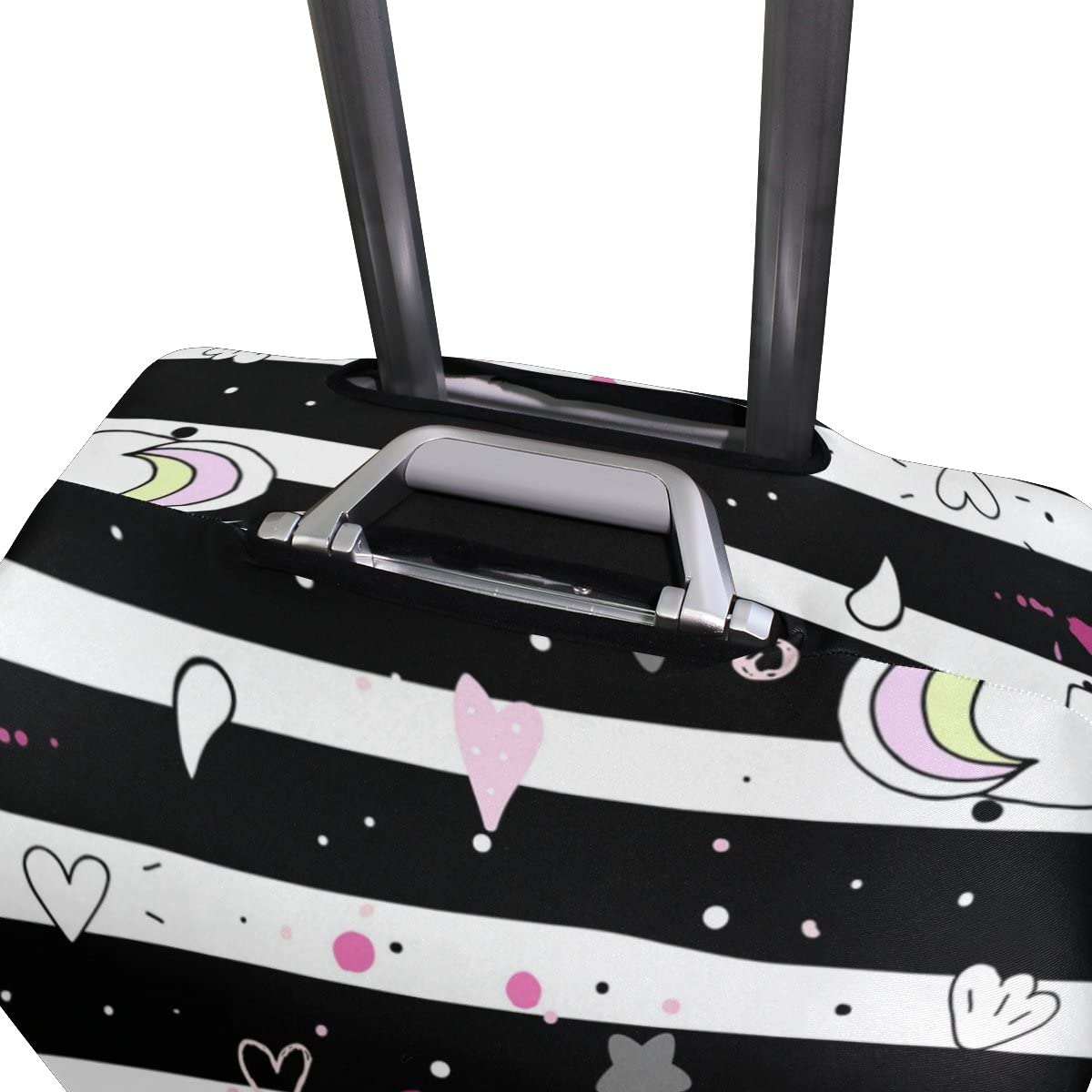 OREZI Luggage Protector Cute Unicorn On A Pink Background Travel Luggage Elastic Cover Suitcase Washable and Durable Anti-Scratch Stretchy Case Cover Fits 18-32 Inches