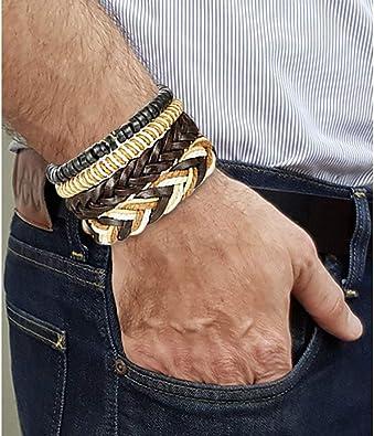 HooAMI 24pcs Bracelets Cuir Hommes Femmes Perles de Bois Bracelet Multi Tiss/é R/églable Cadeau pour Anniversaire No/ël Valentin