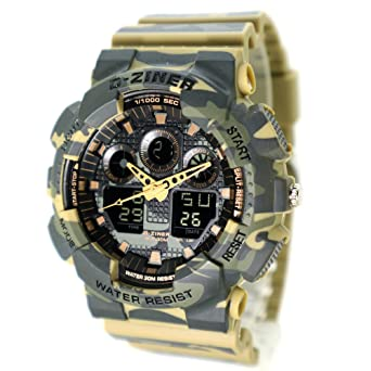 D-Ziner Mans Digital&Analog Sports Watch LED Military Army Style Camouflage Strap
