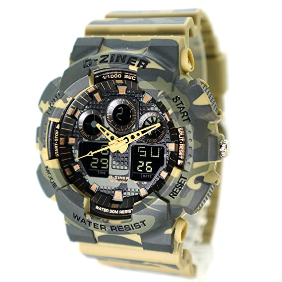 Amazon.com: D-Ziner Mans Digital&Analog Sports Watch LED Military Army Style Camouflage Strap: Watches