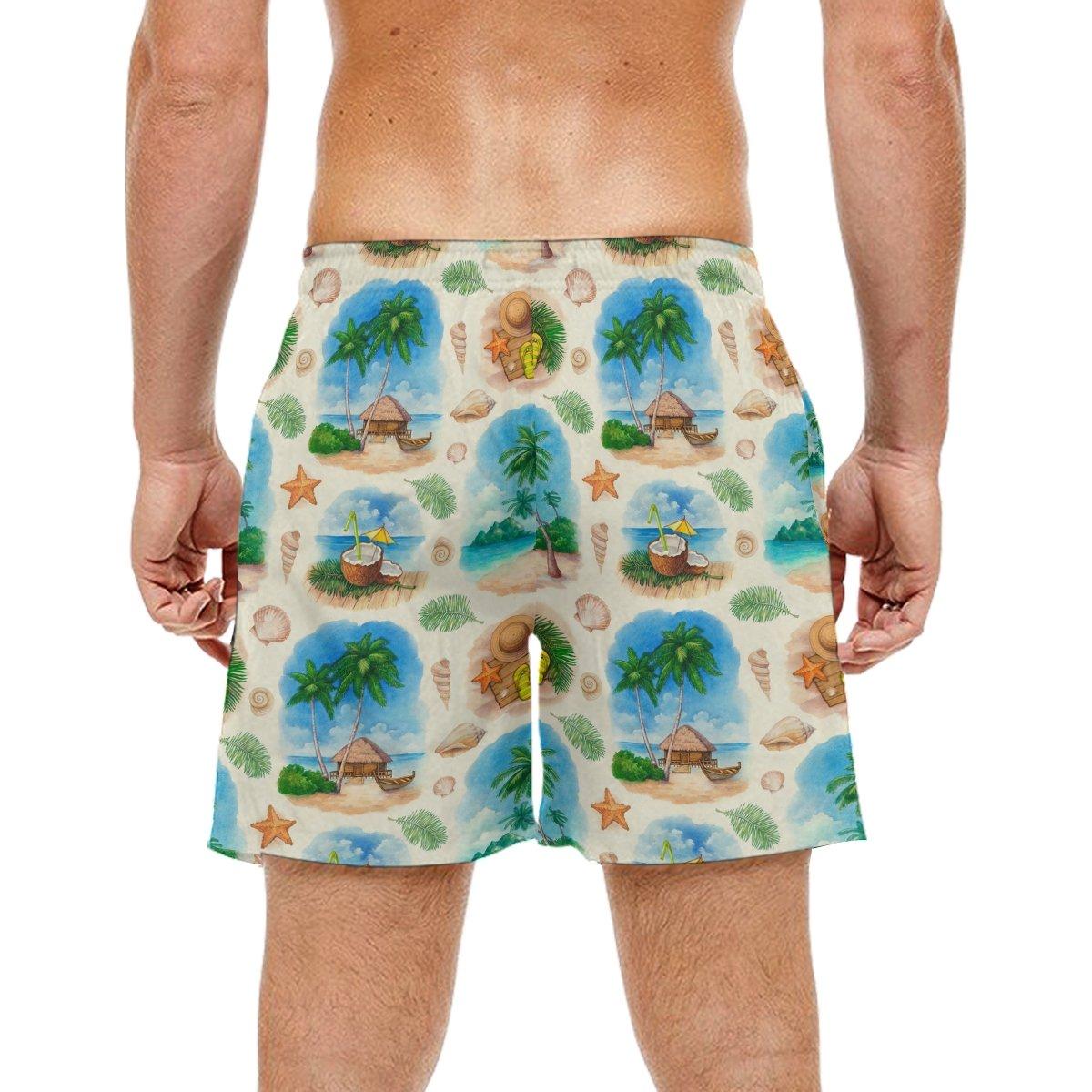 LORVIES Mens Tropical Pattern Beach Board Shorts Quick Dry Swim Trunk