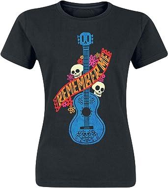 Coco Guitarra Azul Camiseta Mujer Negro L: Amazon.es: Ropa y ...