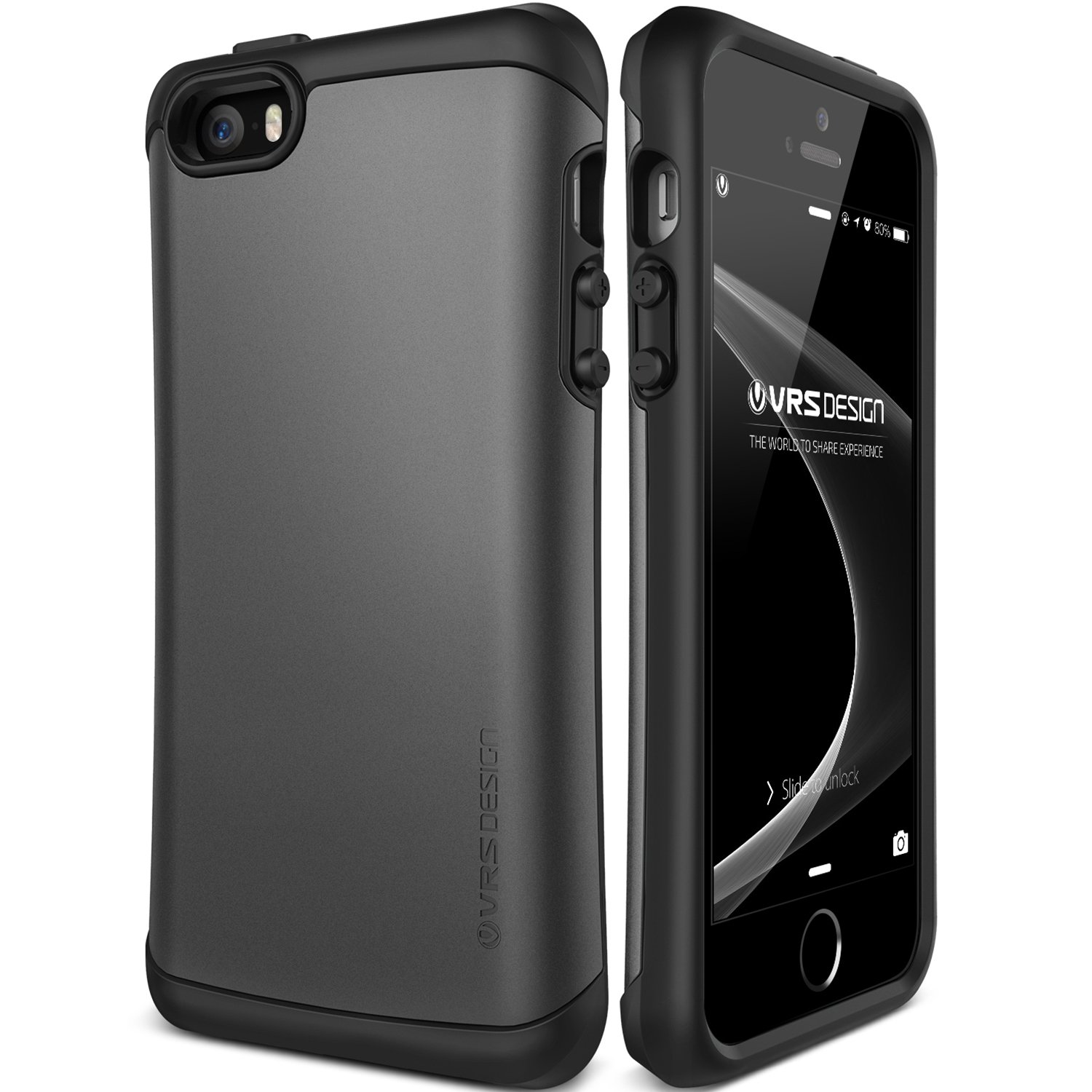 iPhone SE Case, VRS Design [Thor Series] Natural Grip Cover with Military Grade Drop Protection for Apple iPhone SE 2016 - Dark Silver
