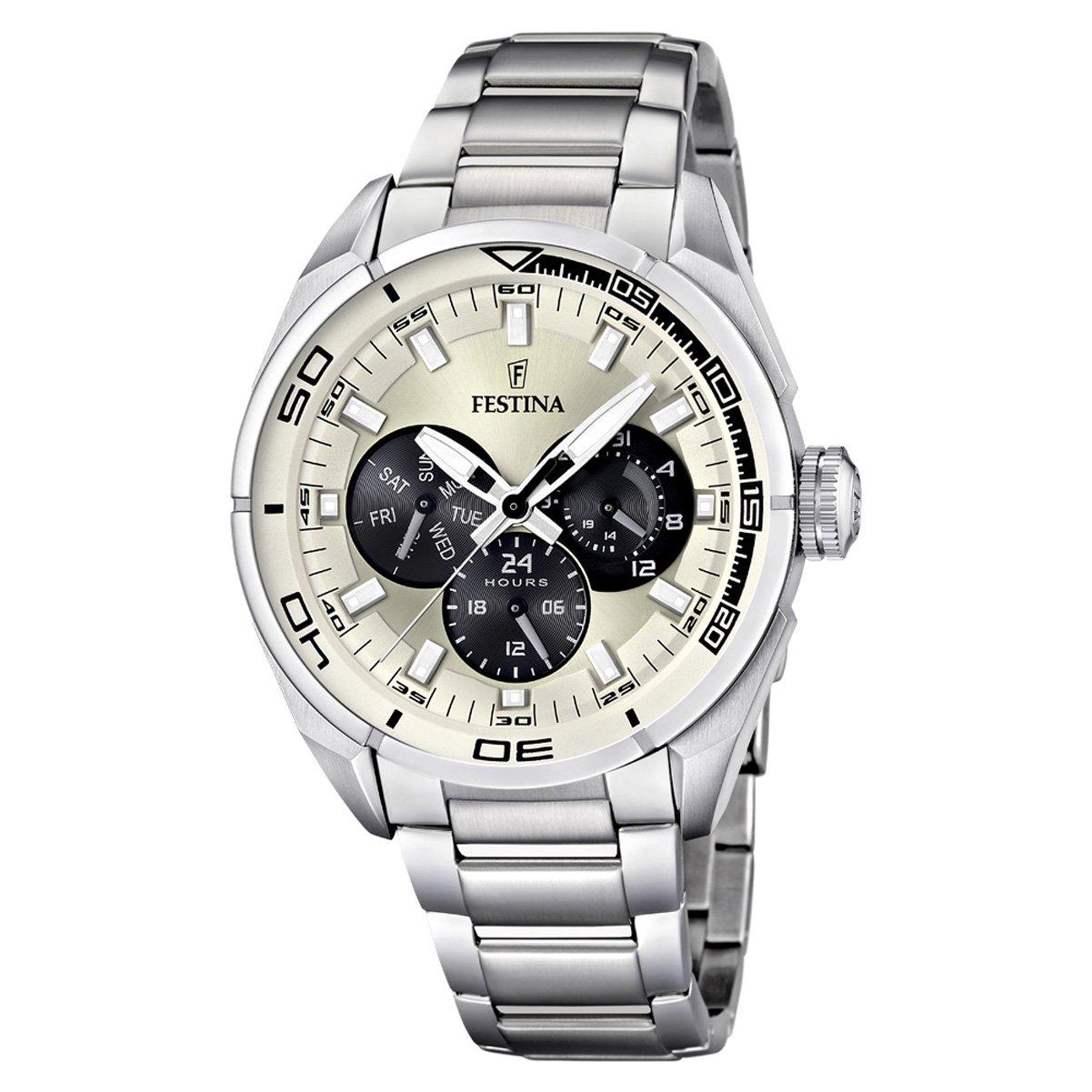 Festina Sport Multifunktion F16608/2 - Reloj analógico de Cuarzo para Hombre, Correa de Acero Inoxidable Color Plateado (Agujas luminiscentes)