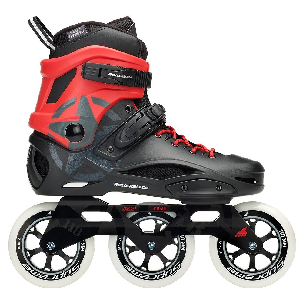 Rollerblade Men's 110 3Wd Fitness Inline Skate, Black/Red, Size 11 by Rollerblade