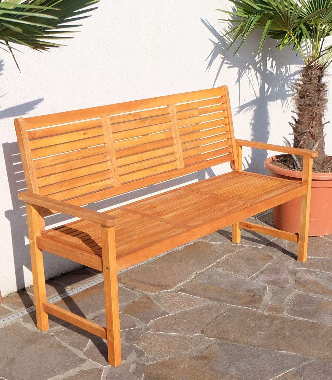 Design Gartenbank Parkbank Sitzbank 3 Sitzer Bank Gartenmöbel Holz  Eukalyptus W.Teak Modell: