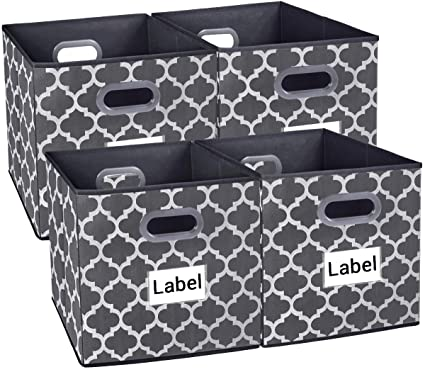 6fd319aeca6d Homyfort Cloth Storage Bins,Foldable Basket Box Cubes containers Organizer  for Closet Shelves Toys Clothes Set of 4 Gray with Lantern Pattern ...