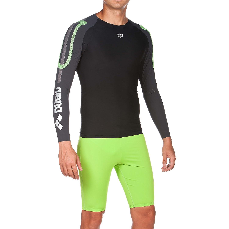 Arena Herren Schwimm Kompressionsshirt Carbon Langarm (Atmungsaktiv, Carbon-Material, Durchblutungsfördernd)