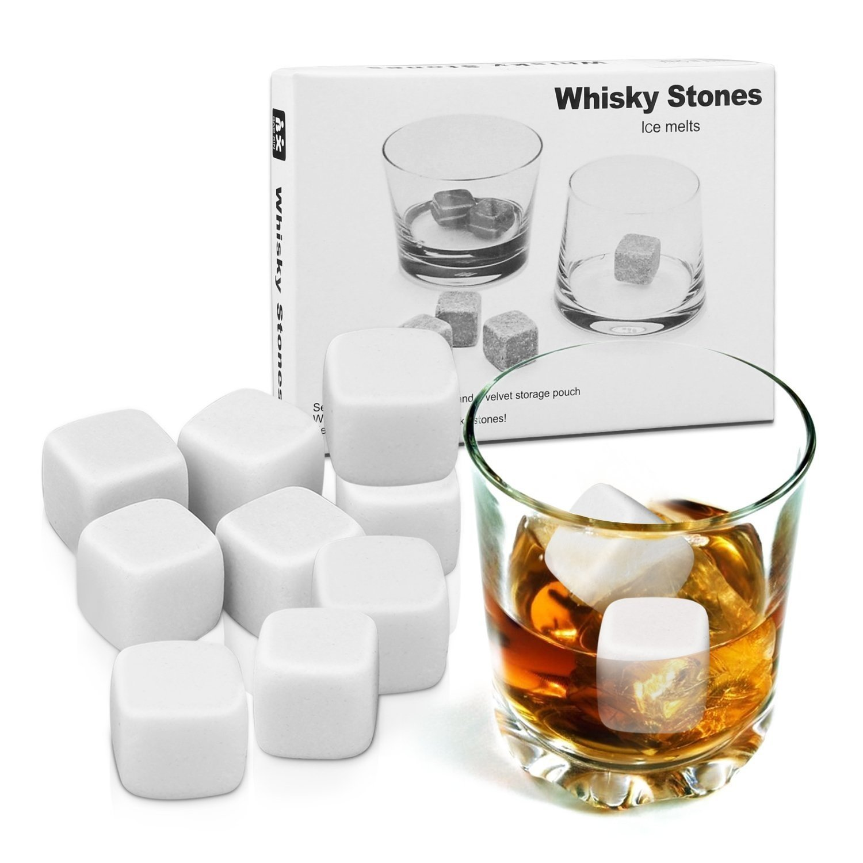 Fait de St/éatite Naturelle,Whisky Stones Gift Set Proking Whisky Chaud Boisson R/éutilisable 9 Pi/èces Pierres de Refroidissement,Pochette en Velour Bo/îte en Bois Whisky Rocks