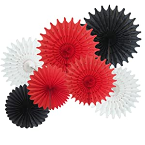 Mickey Mouse Party Supplies Red Black White Party Decorations 7pcs Tissue Paper Fans for Minnie Mouse Birthday Party Decorations Red Black Birthday Party Baby Shower Decortions