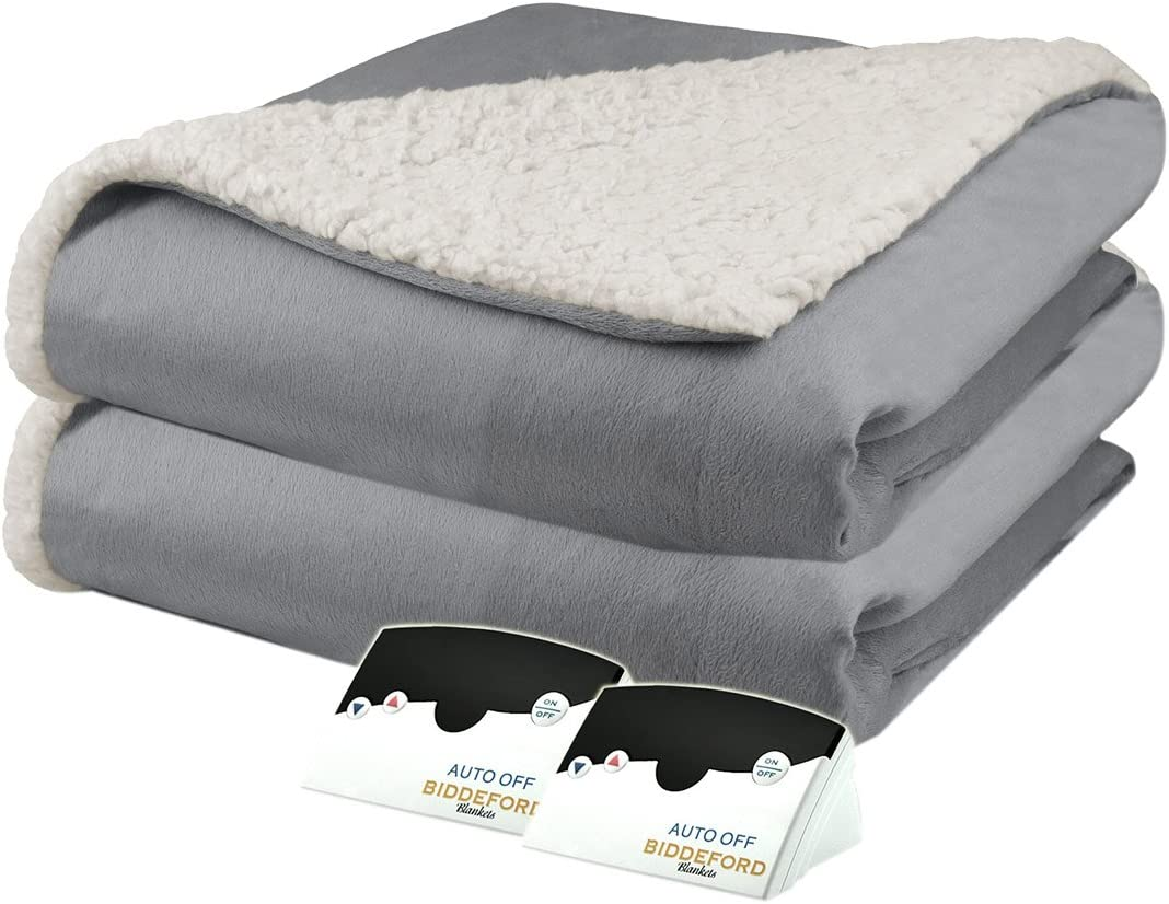 Pure Warmth Micro Mink Sherpa Heated Electric Blanket Queen Grey