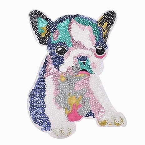 YeahiBaby Parches de Bordado de Lentejuelas de Perro para Ropa 2pcs Rosa y Azul