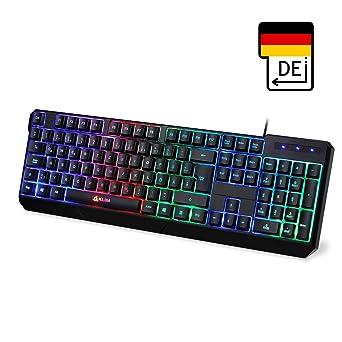 ⭐️KLIM Chroma Teclado Gaming en GERMAN USB – Alto Desempeño – Retroiluminación a Color Estilo