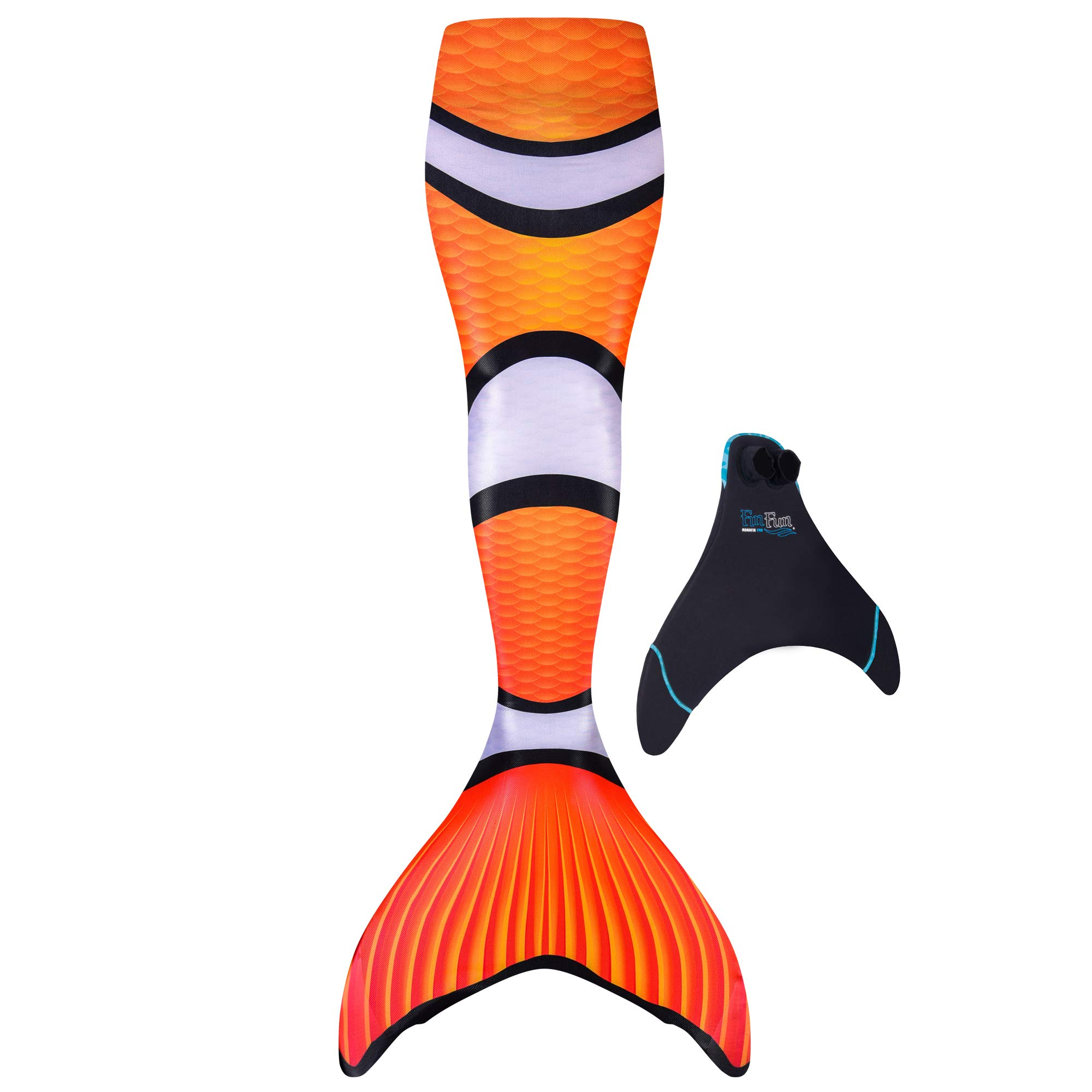 Fin Fun Mermaid Tail, Reinforced Tips, with Monofin, Clown Fish, Child 10