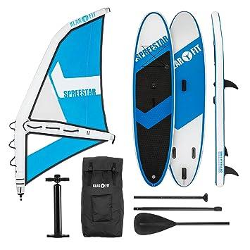 KLAR FIT Spreestar 320 Tabla de pie Hinchable (Paddleboard, Paddle Surf, Tabla Sup 320 x 12 x 81 cm, Bomba Aire, Pala, Correa Seguridad, Mochila ...