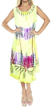 La Leela Embroidered Tie Dye Short Beach Dress Green 3689 14 (M) - 24