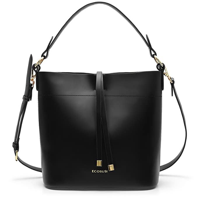 51f3c8c24 Amazon.com: ECOSUSI Bucket Bag Women Top Handle Handbags Satchel Purse Tote  Bag Shoulder Bag, Black: Clothing