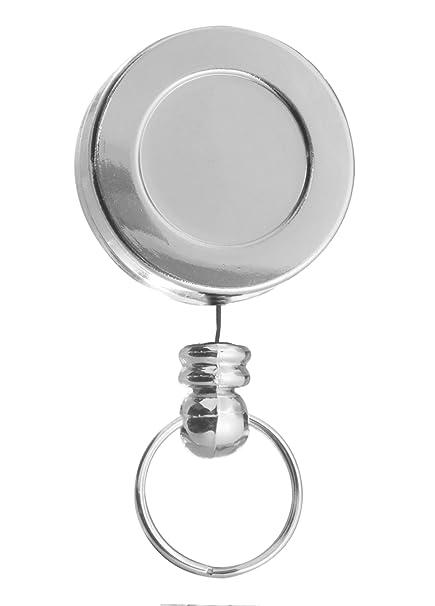 Karteo® Yoyo cordón extensible Yoyo Badge Reel plata con el clip y llavero para Tarjeta Identificativa