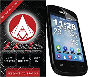 Ace Armor Shield Shatter Resistant Screen Protector for the BLU Dash Music Jr. / Military Grade / High Definition / Maximum Screen Coverage / Supreme Touch Sensitivity /Dry or Wet Easy Installation with free lifetime replacement warranty