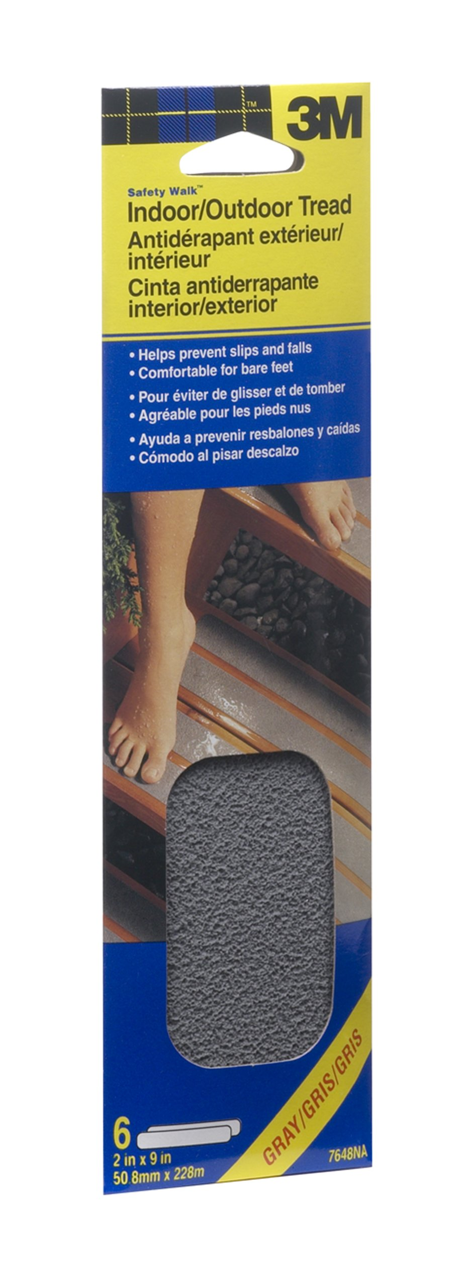 3M Safety-Walk Gray Indoor/Outdoor Tread 2-Inch by 9-Inch Strip, 6-Strips, 7648NA