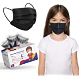 Kid Size Face Mask Black, Disposable Breathable Mask 3ply for Boys Girls Individually Wrapped, Black Children Face Cover Mask
