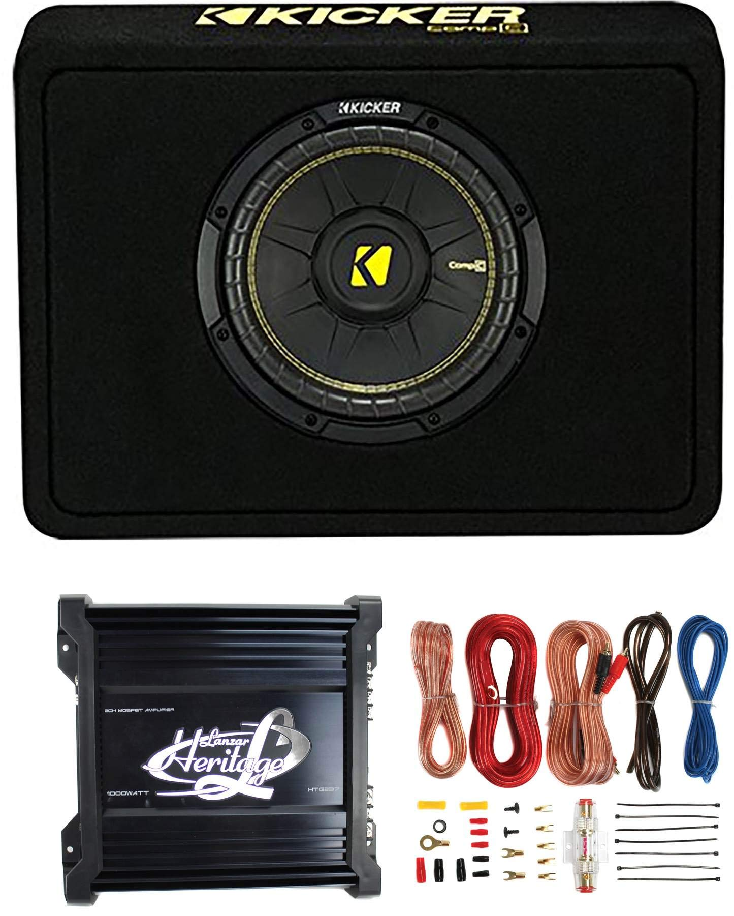 """Kicker 40TCWS104 10"""" 600W 4 Ohm Complete Car Subwoofer Bass Package with Loaded Sub Enclosure, Lanzar 1000W Monoblock Amplifier, & 8 Gauge Wiring Kit"""