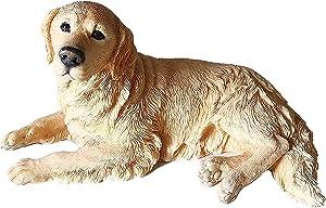 1P Resin Golden Labrador Retriever Dog Lying Posture Garden Statue Simulation Animal Dog Pendulum Model Car Home Accessories